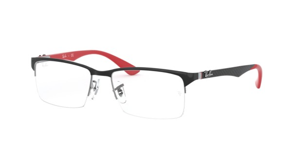 Frames Mens Ray-Ban Semi-Rimless Glasses in Black & Red ...