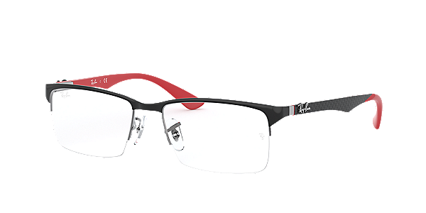 Frames | Men\'s Ray-Ban Semi-Rimless Glasses in Black & Red - RX8411 ...